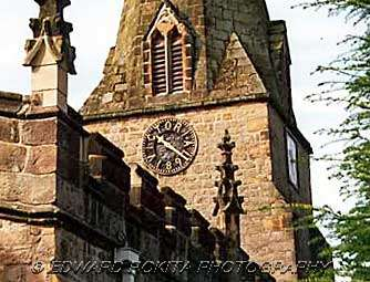 Clockface on Church of St Anne in Baslow village