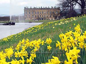 Chatsworth House and gardens in the Derbyshire Peak District
