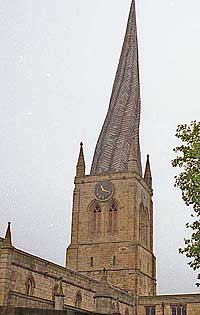 Chesterfield church crooked spire in Derbyshire