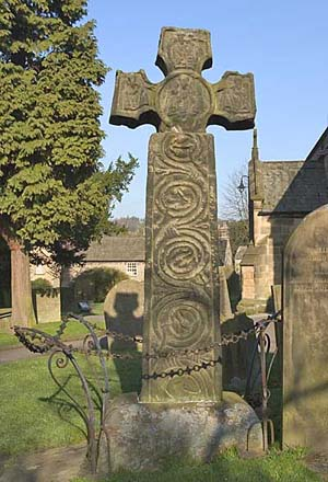 Saxon cross at eyam church