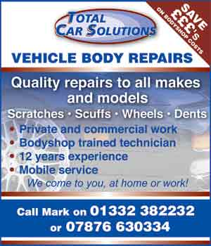 advert poster fot Total Car Solutions - Car repairs in Derby Derbyshire